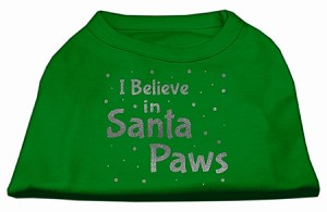 Screenprint Santa Paws Pet Shirt Emerald Green Lg (14)