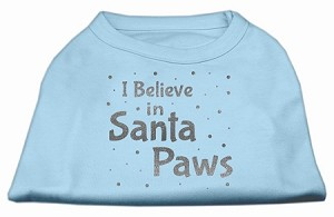 Screenprint Santa Paws Pet Shirt Baby Blue Lg (14)