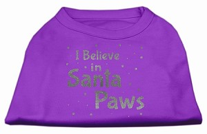 Screenprint Santa Paws Pet Shirt Purple XS (8)