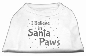 Screenprint Santa Paws Pet Shirt White XS (8)