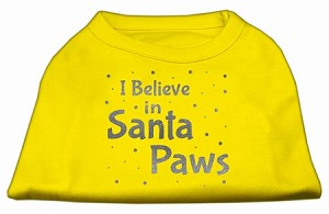 Screenprint Santa Paws Pet Shirt Yellow Lg (14)