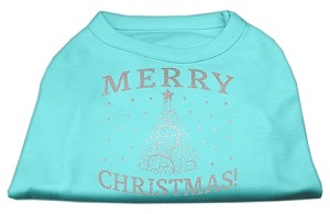 Shimmer Christmas Tree Pet Shirt Aqua XS (8)
