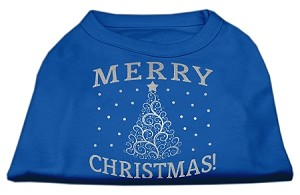 Shimmer Christmas Tree Pet Shirt Blue XL (16)