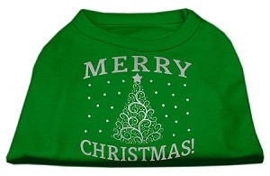 Shimmer Christmas Tree Pet Shirt Emerald Green Sm (10)