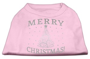 Shimmer Christmas Tree Pet Shirt Light Pink Med (12)