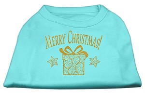 Golden Christmas Present Dog Shirt Aqua Sm (10)
