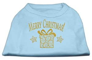 Golden Christmas Present Dog Shirt Baby Blue XXL (18)