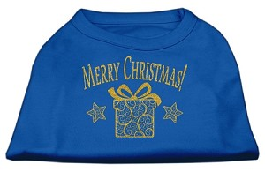 Golden Christmas Present Dog Shirt Blue XXXL (20)