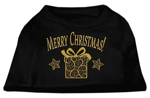 Golden Christmas Present Dog Shirt Black Med (12)