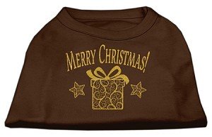Golden Christmas Present Dog Shirt Brown Sm (10)