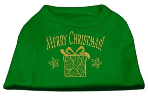Golden Christmas Present Dog Shirt Emerald Green XS (8)