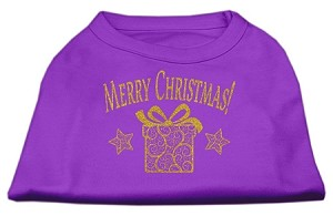 Golden Christmas Present Dog Shirt Purple XL (16)