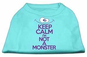 Keep Calm Screen Print Dog Shirt Aqua XXXL (20)