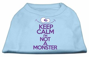 Keep Calm Screen Print Dog Shirt Baby Blue Med (12)