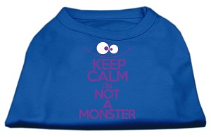 Keep Calm Screen Print Dog Shirt Blue XS (8)