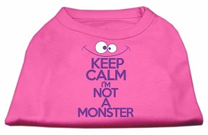 Keep Calm Screen Print Dog Shirt Bright Pink Sm (10)