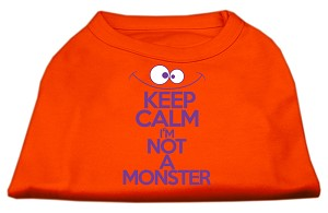 Keep Calm Screen Print Dog Shirt Orange XS (8)
