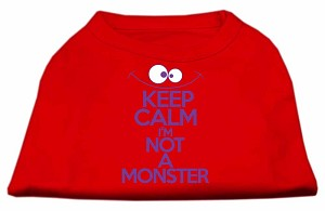Keep Calm Screen Print Dog Shirt Red XXL (18)