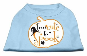 Too Cute to Spook Screen Print Dog Shirt Baby Blue XS (8)