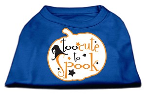 Too Cute to Spook Screen Print Dog Shirt Blue XS (8)