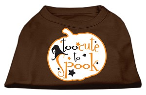 Too Cute to Spook Screen Print Dog Shirt Brown XS (8)