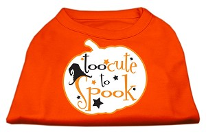Too Cute to Spook Screen Print Dog Shirt Orange XS (8)