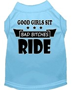 Bitches Ride Screen Print Dog Shirt Baby Blue XS (8)