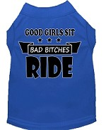 Bitches Ride Screen Print Dog Shirt Blue Med (12)