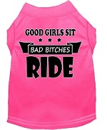 Bitches Ride Screen Print Dog Shirt Bright Pink Med (12)