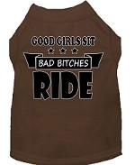 Bitches Ride Screen Print Dog Shirt Brown Med (12)