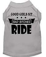 Bitches Ride Screen Print Dog Shirt Grey Med (12)