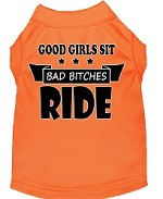 Bitches Ride Screen Print Dog Shirt Orange Med (12)