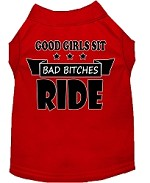 Bitches Ride Screen Print Dog Shirt Red XS (8)