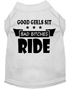Bitches Ride Screen Print Dog Shirt White Med (12)