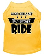 Bitches Ride Screen Print Dog Shirt Yellow Med (12)