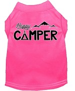 Happy Camper Screen Print Dog Shirt Bright Pink XS (8)