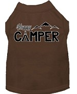 Happy Camper Screen Print Dog Shirt Brown XS (8)
