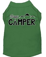 Happy Camper Screen Print Dog Shirt Green XS (8)