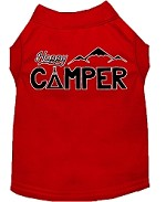 Happy Camper Screen Print Dog Shirt Red XS (8)