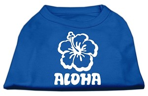 Aloha Flower Screen Print Shirt Blue XL (16)