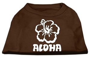 Aloha Flower Screen Print Shirt Brown Sm (10)