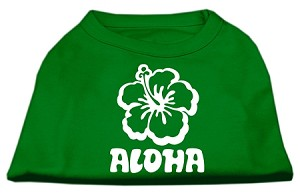Aloha Flower Screen Print Shirt Green Med (12)