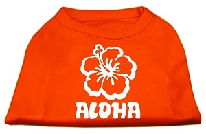 Aloha Flower Screen Print Shirt Orange XS (8)