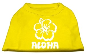Aloha Flower Screen Print Shirt Yellow Lg (14)