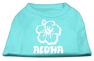 Aloha Flower Screen Print Shirt Aqua XS (8)