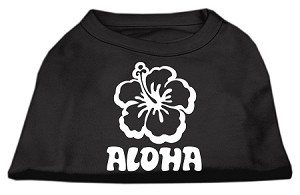 Aloha Flower Screen Print Shirt Black XS (8)