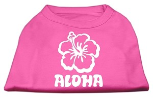 Aloha Flower Screen Print Shirt Bright Pink Sm (10)