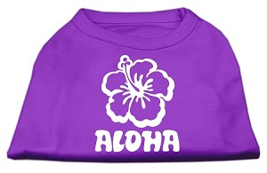 Aloha Flower Screen Print Shirt Purple XL (16)
