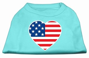 American Flag Heart Screen Print Shirt Aqua XS (8)