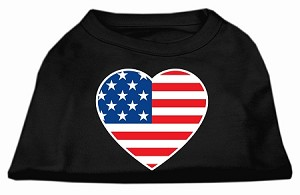 American Flag Heart Screen Print Shirt Black Lg (14)